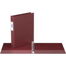 """Davis Round Ring Commercial Binder - 1"""" Binder Capacity - 8 1/2"""" x 11"""" Sheet Size - 3 x Round Ring Fastener(s) - 2 Inside Front & Back Pocket(s) - Maroon - Recycled - 1 Each"""