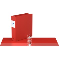 """Davis Round Ring Commercial Binder - 2"""" Binder Capacity - 8 1/2"""" x 11"""" Sheet Size - 3 x Round Ring Fastener(s) - 2 Inside Front & Back Pocket(s) - Red - Recycled - 1 Each"""