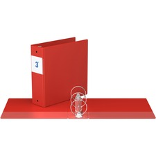 """Davis Round Ring Commercial Binder - 3"""" Binder Capacity - 8 1/2"""" x 11"""" Sheet Size - 3 x Round Ring Fastener(s) - 2 Inside Front & Back Pocket(s) - Red - Recycled - 1 Each"""