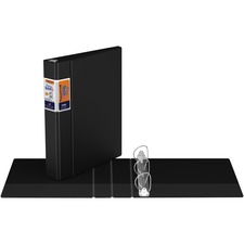 "QuickFit QuickFit Round Ring Deluxe Commercial Binder - 1 1/2"" Binder Capacity - 8 1/2"" x 11"" Sheet Size - 300 Sheet Capacity - D-Ring Fastener(s) - Internal Pocket(s) - Black - Recycled - 1 Each"