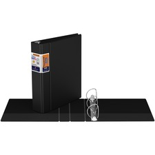 "QuickFit QuickFit Round Ring Deluxe Commercial Binder - 2"" Binder Capacity - 8 1/2"" x 11"" Sheet Size - 450 Sheet Capacity - D-Ring Fastener(s) - Internal Pocket(s) - Black - Recycled - 1 Each"