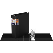 "QuickFit QuickFit Round Ring Deluxe Commercial Binder - 3"" Binder Capacity - 8 1/2"" x 11"" Sheet Size - 550 Sheet Capacity - D-Ring Fastener(s) - Internal Pocket(s) - Black - Recycled - 1 Each"
