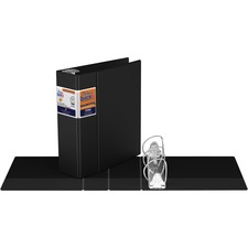 "QuickFit QuickFit Locking Round Ring Deluxe Commercial Binder - 4"" Binder Capacity - 8 1/2"" x 11"" Sheet Size - 650 Sheet Capacity - D-Ring Fastener(s) - Internal Pocket(s) - Black - Recycled - 1 Each"