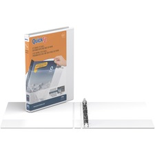 """QuickFit QuickFit Round Ring View Binder - 5/8"""" Binder Capacity - Letter - 8 1/2"""" x 11"""" Sheet Size - 3 x Round Ring Fastener(s) - Internal Pocket(s) - White - Recycled - Clear Overlay, Easy Insert Spine - 1 Each"""