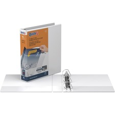 """QuickFit QuickFit Angle D-ring View Binder - 1 1/2"""" Binder Capacity - Letter - 8 1/2"""" x 11"""" Sheet Size - 3 x D-Ring Fastener(s) - White - Recycled - Clear Overlay - 1 Each"""