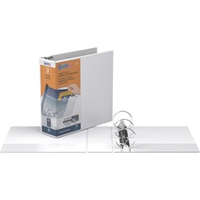 """QuickFit QuickFit Round Ring View Binder - 3"""" Binder Capacity - Letter - 8 1/2"""" x 11"""" Sheet Size - Round Ring Fastener(s) - Internal Pocket(s) - White - Recycled - Easy Insert Spine, Clear Overlay - 1 Each"""