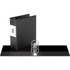 "Davis Round Ring Special Sized Binder - 2"" Binder Capacity - 5"" x 8 1/2"" Sheet Size - 450 Sheet Capacity - 3 x Round Ring Fastener(s) - Internal Pocket(s) - Vinyl - Black - Recycled - Label Holder - 1 Each"