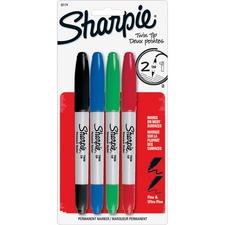 Sharpie Twin-Tip Markers - Ultra Fine, Fine Marker Point - 1 mm, 0.3 mm Marker Point Size - Black, Red, Blue, Green