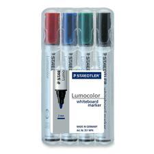 Lumocolor Bullet Point Whiteboard Markers - Bullet Marker Point Style - Refillable - Black, Blue, Red, Green - Polypropylene Barrel - 4 / Set