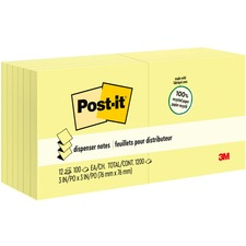 MMM R330RP12YW 3M Post-it Greener Pop-Up Canary Notepads MMMR330RP12YW