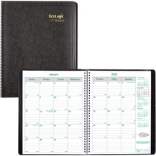RED CB435WBLK Rediform Ecologix 14-month Monthly Planner REDCB435WBLK