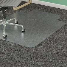 "Lorell Low Pile Wide Lip Antistatic Chairmat - Carpeted Floor - 53"" (1346.20 mm) Length x 45"" (1143 mm) Width x 0.12"" (3.10 mm) Thickness - Lip Size 12"" (304.80 mm) Length x 25"" (635 mm) Width - Clear"