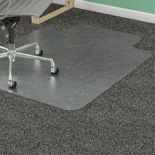 "Lorell Low Pile Wide Lip Antistatic Chairmat - Carpeted Floor - 60"" (1524 mm) Length x 46"" (1168.40 mm) Width x 0.12"" (3.10 mm) Thickness - Lip Size 12"" (304.80 mm) Length x 25"" (635 mm) Width - Clear"