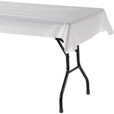 "Genuine Joe Banquet-size Plastic Tablecover - 300 ft (91440 mm) Length x 40"" (1016 mm) Width - 1 Roll - Plastic - White"