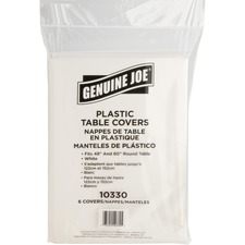 "Genuine Joe Plastic Round Tablecovers - 84"" (2133.60 mm) Diameter - 6 / Pack - Plastic - White"