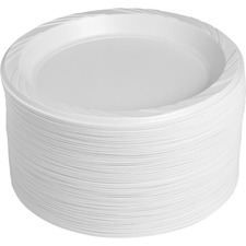 "Genuine Joe Reusable Plastic White Plates - 9"" (228.60 mm) Diameter Plate - Plastic - White - 125 Piece(s) / Pack"