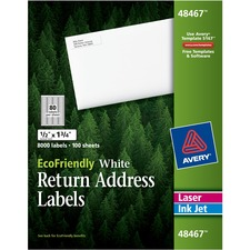 Avery® EcoFriendly Address Label - Water Based Adhesive - Rectangle - Laser, Inkjet - White - Paper - 80 / Sheet - 100 Total Sheets - 8000 Total Label(s)