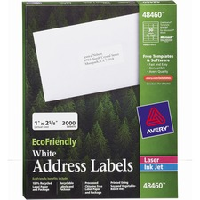 Avery® EcoFriendly Address Labels - Water Based Adhesive - Rectangle - Laser, Inkjet - White - Paper - 30 / Sheet - 100 Total Sheets - 3000 Total Label(s)