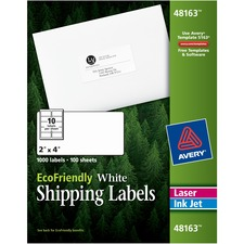 "Avery® EcoFriendly Shipping Labels, Permanent Adhesive, 2"" x 4"", 1,000 Labels (48163) - Permanent Adhesive - 2"" Width x 4"" Length - Rectangle - Laser, Inkjet - White - Paper - 100 / Sheet - 1000 / Box"