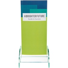 "Deflecto Euro-Style DocuHolder - 8"" Height x 4.5"" Width x 3.8"" Depth - Clear, Green Edge - Glass, Plastic - 1Each"