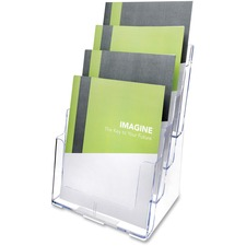 "Deflecto Multi-Compartment DocuHolder - 920 x Sheet - 4 Compartment(s) - 1.57"" (40 mm) - 13.5"" Height x 9.3"" Width x 7"" Depth - Desktop - Clear - Polystyrene - 1 Each"