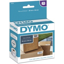 "Dymo LabelWriter Small Multipurpose Labels - 1"" x 2 1/8"" Length - Direct Thermal - White - 500 / Roll"