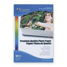 "Vision Photo Paper - 4"" x 6"" - Glossy - 50 / Pack - White"