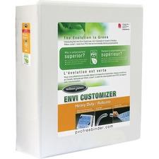 "Wilson Jones Heavy Duty Customizer Round Ring Binder - 3"" Binder Capacity - 480 Sheet Capacity - Round Ring Fastener(s) - Internal Pocket(s) - White - Recycled - Heavy Duty, Gap-free Ring, PVC-free - 1 Each"