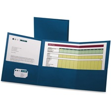 "Oxford Letter Report Cover - 8 1/2"" x 11"" - 150 Sheet Capacity - 3 Pocket(s) - Paper - Blue"