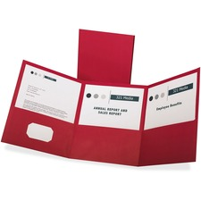 "Oxford Letter Report Cover - 8 1/2"" x 11"" - 150 Sheet Capacity - 3 Pocket(s) - Paper - Red"