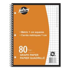 """Hilroy Metric Graph Paper Coil Notebook - 80 Sheets - Coilock - Front Ruling Surface - 8"""" x 10 1/2"""" - White Paper - 1Each"""