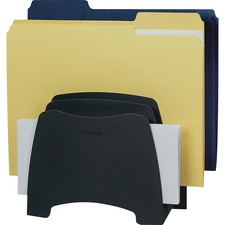 "Fellowes Partition Additions Step File - 5 Compartment(s) - 8"" Height x 8"" Width x 4.3"" Depth - 99% - Dark Graphite - Plastic - 1 Each"