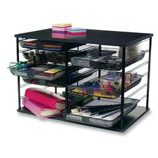 """Rubbermaid Mesh Drawer 12-Compartment Organizer - 12 Compartment(s) - 16.4"""" Height x 29.1"""" Width x 7.1"""" Depth - Desktop - Stackable - Black"""