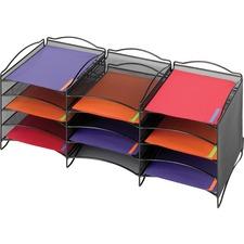 "Safco 12-Compartment Mesh Desktop Organizer - 12 Compartment(s) - Compartment Size 1.75"" (44.45 mm) x 9.50"" (241.30 mm) x 12.25"" (311.15 mm) - 11.3"" Height x 30"" Width x 12.6"" Depth - Desktop - Stackable - Black - Steel"