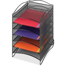"Safco 6-Compartment Mesh Desktop Organizer - 6 Compartment(s) - Compartment Size 1.75"" (44.45 mm) x 9.50"" (241.30 mm) x 12.25"" (311.15 mm) - 15.3"" Height x 10.3"" Width x 12.8"" Depth - Desktop - Black - Steel - 1 / Each"