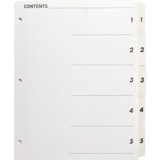 SPR 05852 Sparco Quick Index Dividers w/Table Of Cont. Page SPR05852