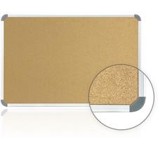 """Ghent Cintra CTSK34 European Style Corkboard - 36"""" (914.40 mm) Height x 48"""" (1219.20 mm) Width - Cork Surface - Self-healing - Gray Aluminum Frame - 1 Each"""