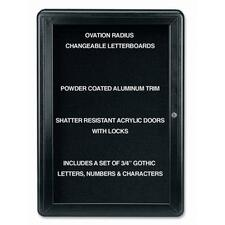 "Ghent Ovation OVK1-B Changeable Letter Board - 34"" (863.60 mm) Height x 24"" (609.60 mm) Width - Black Aluminum Frame - 1 Each"