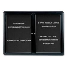 "Ghent Ovation OVK2-B Changeable Letter Board - 34"" (863.60 mm) Height x 47"" (1193.80 mm) Width - Black Aluminum Frame - 1 Each"