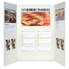 "Quartet Trifold Presentation/Project Board - 36"" (914.40 mm) Height x 48"" (1219.20 mm) Width - White Surface - 1 Each"