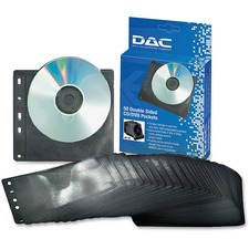 DAC Double Sided CD/DVD Pocket - Sleeve - Polypropylene - Black, Clear - 2 CD/DVD
