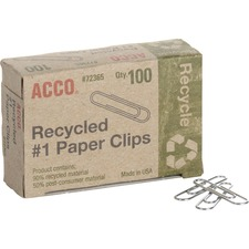 Acco Recycled Paper Clips - No. 1 - 10 Sheet Capacity - Durable, Reusable - 100 / Box - Silver - Metal