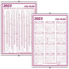 "Blueline Wall Calendar - Yearly - January 2019 till December 2019 - 24"" x 36"" - Wall Mountable - Bilingual, Laminated, Erasable, Eyelet"
