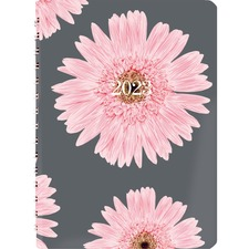 "Blueline Pink Ribbon Daily Diary - Business - Daily - 1 Year - January 2019 till December 2019 - 7:00 AM to 7:30 PM - 1 Day Single Page Layout - 8"" x 5"" - Spiral Bound - Pink - Bilingual, Tear-off, Notepad"