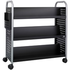 "Safco Scoot Double Sided Book Cart - 6 Shelf - 4 Casters - 3"" (76.20 mm) Caster Size - Steel - x 41.3"" Width x 17.8"" Depth x 41.3"" Height - Black, Silver - 1 Each"