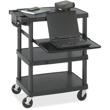 "Safco Multimedia Cart - 4 x Shelf(ves) - 34.75"" (882.65 mm) Height x 27.75"" (704.85 mm) Width x 18.75"" (476.25 mm) Depth - Steel, Plastic, Polyurethane - Black"