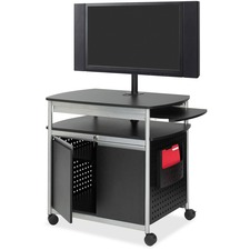 "Safco Scoot Flat Panel Multimedia Display Cart - 68"" (1727.20 mm) Height x 39.50"" (1003.30 mm) Width x 27"" (685.80 mm) Depth - Steel - Black, Silver"