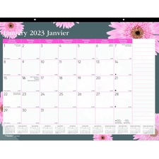 "Blueline Pink Ribbon Collection Desk Pad Calendar - Monthly - 1 Year - January 2019 till December 2019 - 16"" x 21 1/4"" - Desk Pad - Clear - Vinyl, Chipboard - Bilingual, Reinforced"