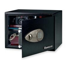 "Sentry Safe Security Safe with Electronic Lock - 33.98 L - Electronic, Key Lock - 2 Live-locking Bolt(s) - Internal Size 10.5"" x 16.8"" x 12.6"" - Overall Size 10.6"" x 17"" x 14.8"" - Black - Steel"