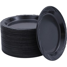 GJO 10429 Genuine Joe Black Round Plastic Plates GJO10429